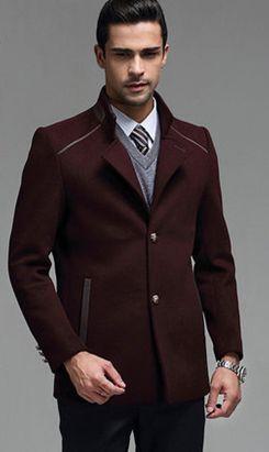 镶边男大衣